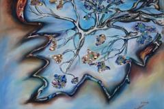 Una foglia dal contorno ambrato e rosso amore, che racchiude un cielo azzurro, nel quale si manifesta un albero, che con la sua linfa crea meravigliose e luminose vite