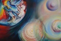 Iconografia ove le sfere dominano  la rappresentazione di un movimento ciclico di rinnovamento. Si muovono in una luce di armonia e alchimia cromatica per illuminare il sentiero della rinascita