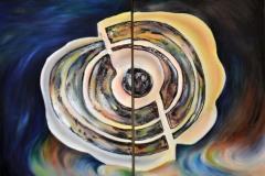 Un uovo cosmico che sparge nuova esistenza. La dialettica pittorica ha il suo fondamento nella nascita della vita, che, nonostante la sua fragilità, quando si spezza o finisce, si evolve e continua all'infinito