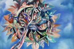 L'albero, portatore di liriche emozioni, se ne va libero  nell'universo, seminando e fecondando la vita