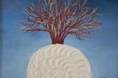 Dalla spirale, bianca perchè pura, simbolo onirico dell'inizio della vita ancestrale, nasce un albero dorato e rosso amore, che narra un racconto di profondo radicamento tra noi e la natura
