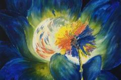 nel nido di un fiore di elettrizzante blu, i moti dell'anima, chiara e limpida, si uniscono all'unisono portandoci all'eterna evocazione dei cicli vitali