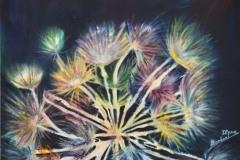 un soffione esplode in un raggiante fuoco d'artificio