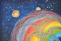 emozioni che pulsano annidate ed esibite nell'arcobaleno, proiettate nel creato